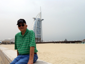 Me, after the fall with the Burj Al Arab