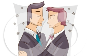 1212447-Cartoon-Of-A-Male-Same-Sex-Couple-Embracing-At-Their-Wedding-Royalty-Free-Vector-Clipart